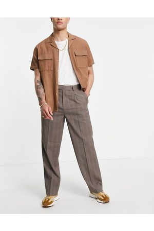 ASOS DESIGN Muži Chino - Wide leg smart trouser in wide leg prince of wales check-Brown