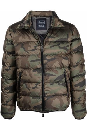 HERNO Camouflage-print hooded padded jacket