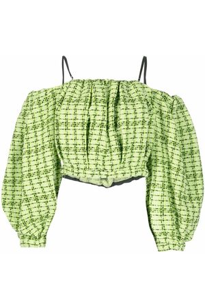 Msgm Tweed-woven off-shoulder blouse