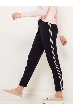 Camaïeu Černé straight fit kalhoty s lampasem
