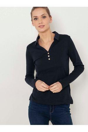 Camaïeu Černé tričko s límečkem