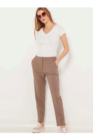 Camaïeu Hnědé straight fit kalhoty