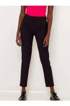 Camaïeu Černé vzorované zkrácené straight fit kalhoty