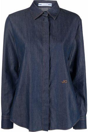 Jacob Cohen Ženy Džínové košile - Logo-embroidered denim shirt