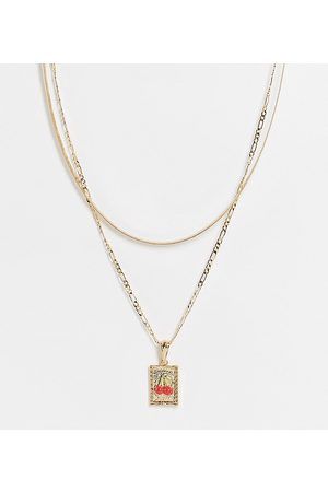 ASOS ASOS DESIGN Curve multirow necklace with cherry tag pendant in gold tone