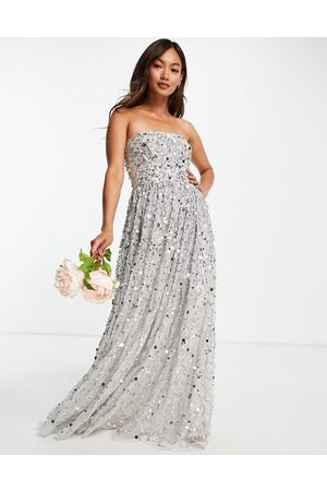 Maya Bridal maxi bandeau wedding dress in all over 3D soft grey sequins