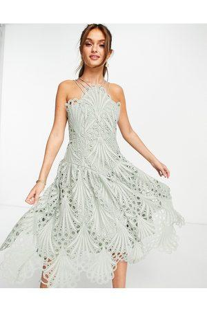 ASOS Cut work lace pinny midi dress-Blue