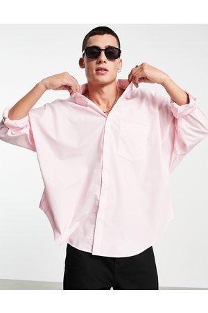 ASOS Muži Volnočasové - Volume oversized dad shirt in pastel pink