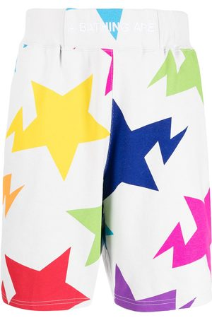 A Bathing Ape Embroidered-logo star-print shorts