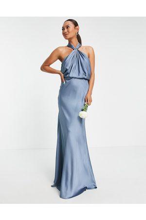 ASOS Satin ruched halter neck maxi dress in dusky blue