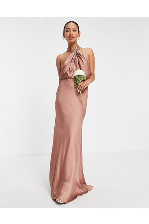ASOS EDITION Satin ruched halter neck maxi dress in cinnamon rose-Copper