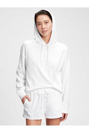 GAP Bílé dámské pyžamo vý top slub jersey hoodie