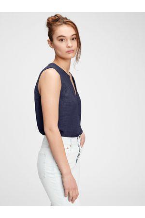 GAP Modrý dámský top sleeveless gauze
