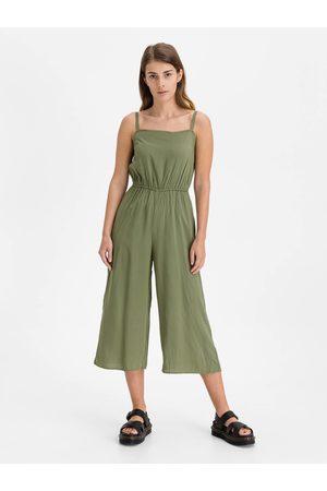 GAP Zelený dámský overal v-sl sq nk woven jumpsuit