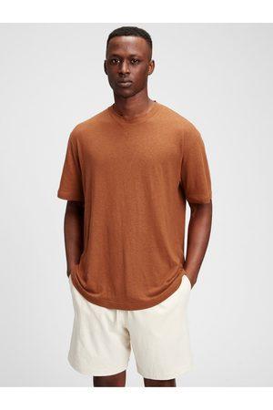GAP Hnědé pánské tričko short sleeve linen t-shirt