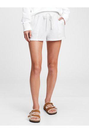 GAP Bílé dámské pyžamo vé kraťasy slub jersey shorts