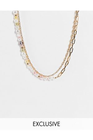 Reclaimed Ženy Náhrdelníky - Inspired multirow necklace with mixed chain and pastel faux pearls in gold