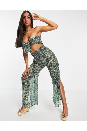 South Beach Ženy Bez ramínek - Paisley chiffon bandeau tie front top and loose fitting pants set in green