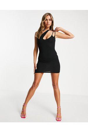 Public Desire Ženy Asymetrické - Asymmetric cut out mini dress in black