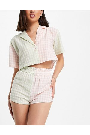 Lost Ink Check mix cropped shirt and short set in pink and green-Multi