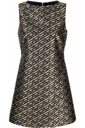 VERSACE Ženy Šaty - Geometric jacquard-woven shift dress