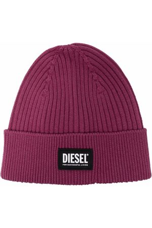 Diesel Čepice - Logo-patch ribbed-knit beanie