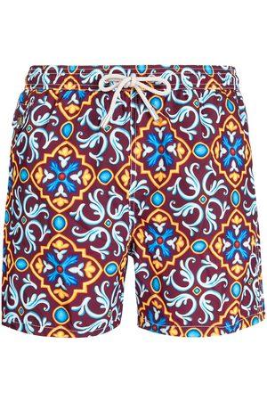 MC2 SAINT BARTH Muži Šortky - Ceramic-print drawstring swim shorts