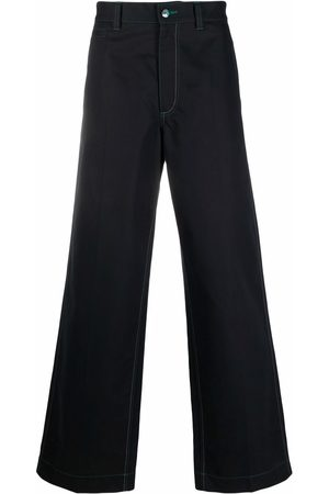 Marni Muži Široké nohavice - Contrast-stitching wide-leg trousers