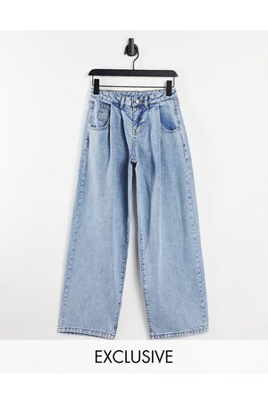 Reclaimed Inspired 97' wide leg low rise mom jeans in blue wash
