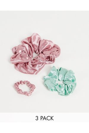 My Accessories Ženy Doplňky do vlasů - X3 pack mixed scrunchies in pink and sage-Multi
