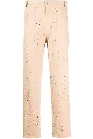 Msgm Muži Rovné nohavice - Distressed-effect straight-leg trousers