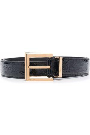 VERSACE Muži Pásky - Crocodile-embossed square-buckle belt