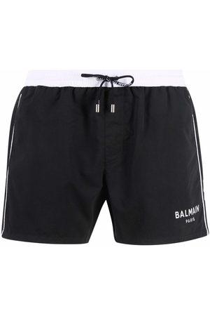 Balmain Muži Šortky - Contrast waistband swimming shorts