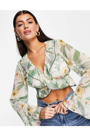 ASOS Floral sheer wrap top with ruffle detail-Multi