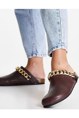 Public Desire Isabel mule clogs with chain trim in brown