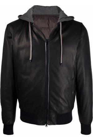 Barba Hooded leather bomber jacket