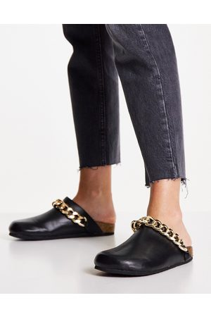 Public Desire Isabel mule clogs with chain trim in black