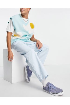 ASOS DESIGN Wide leg chinos with pleats in in pastel blue