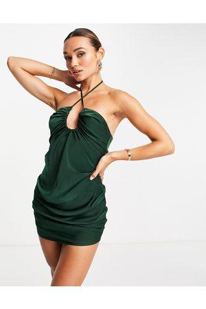 ASOS Halter satin ruched scoop mini dress in green