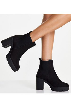 ASOS Wide Fit Eve heeled chunky chelsea boots in black