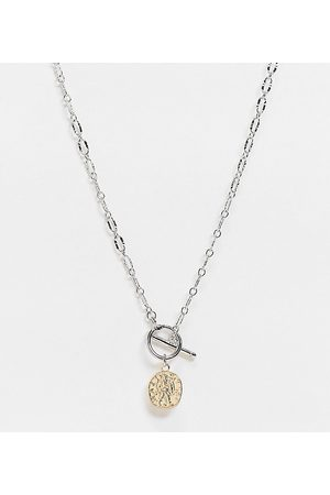 Reclaimed Inspired t bar coin necklace in mixed metal-Multi