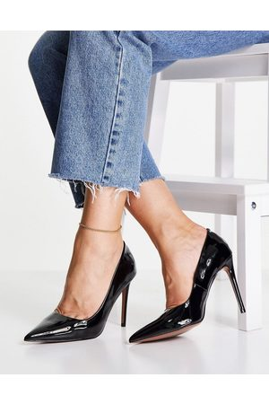 ASOS DESIGN Penza pointed high heeled court shoes in black patent
