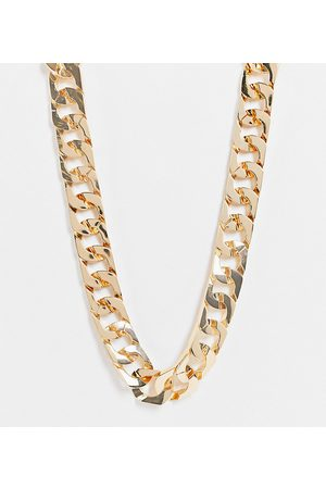ASOS Curve ASOS DESIGN Curve necklace in square edge curb chain in gold tone