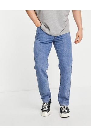 Topman Straight jeans in mid wash-Blue