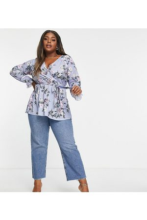Yours Long sleeve wrap top in blue floral