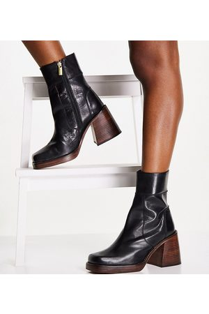 ASOS Wide Fit Region leather mid-heel boots in black