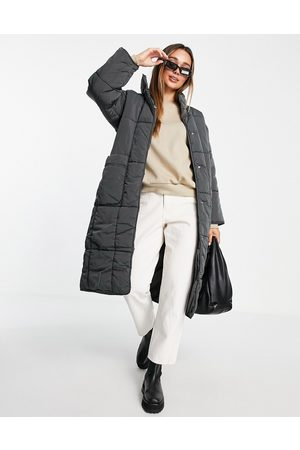 ASOS DESIGN Quilted longline puffer coat in charcoal-Grey