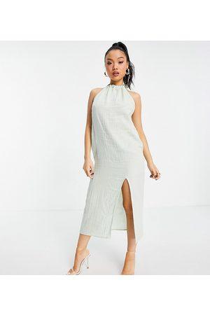 ASOS Petite Ženy Ke krku - ASOS DESIGN petite halter midi beach dress in double gauze in sage green