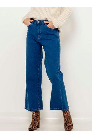 Camaïeu Modré zkrácené flared fit džíny