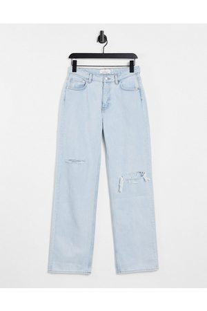 & OTHER STORIES Precious organic cotton low rise relaxed fit ripped jeans in light blue